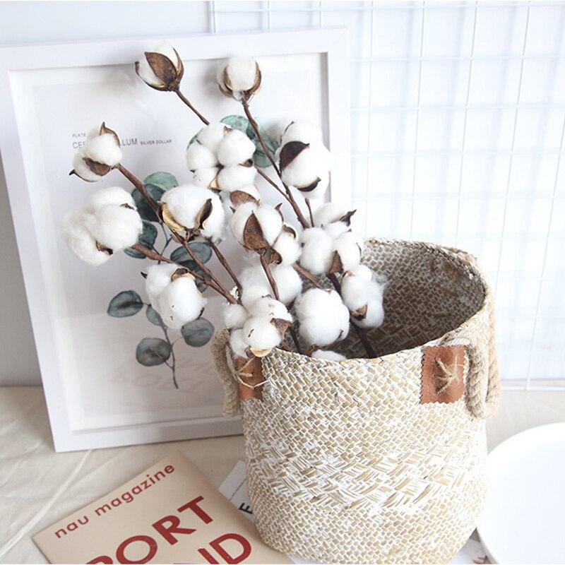Натуральные сухие цветы из хлопка, 10 цветов, искусственные растения, Цветочная ветка для свадебной вечеринки, искусственный Декор для дома