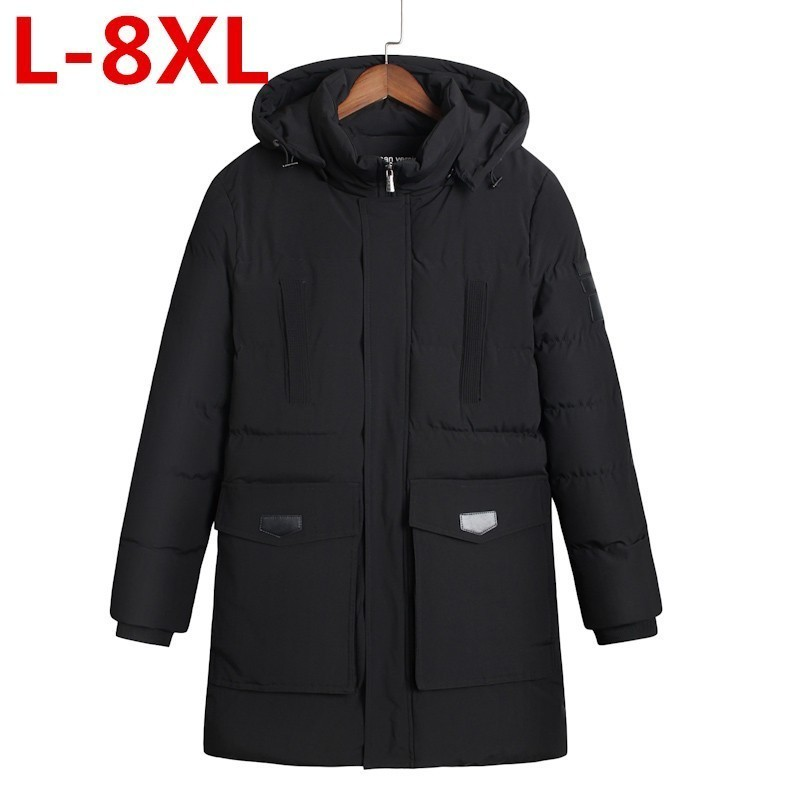 High Quality  Winter Men's Wadded Jacket Hat Long Fashion Cotton-padded Clothes Hooded Jacket Casual Outerwear Warm Coat 8XL 7XL