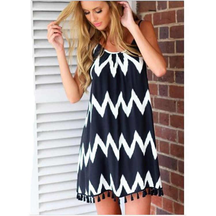 Плюс размер платье повседневное женское летнее платье черно-белое волнистое Полосатое Мини-Платье 4xl 5xl 6xl пикантное пляжное с открытой спиной платье-комбинация Новое