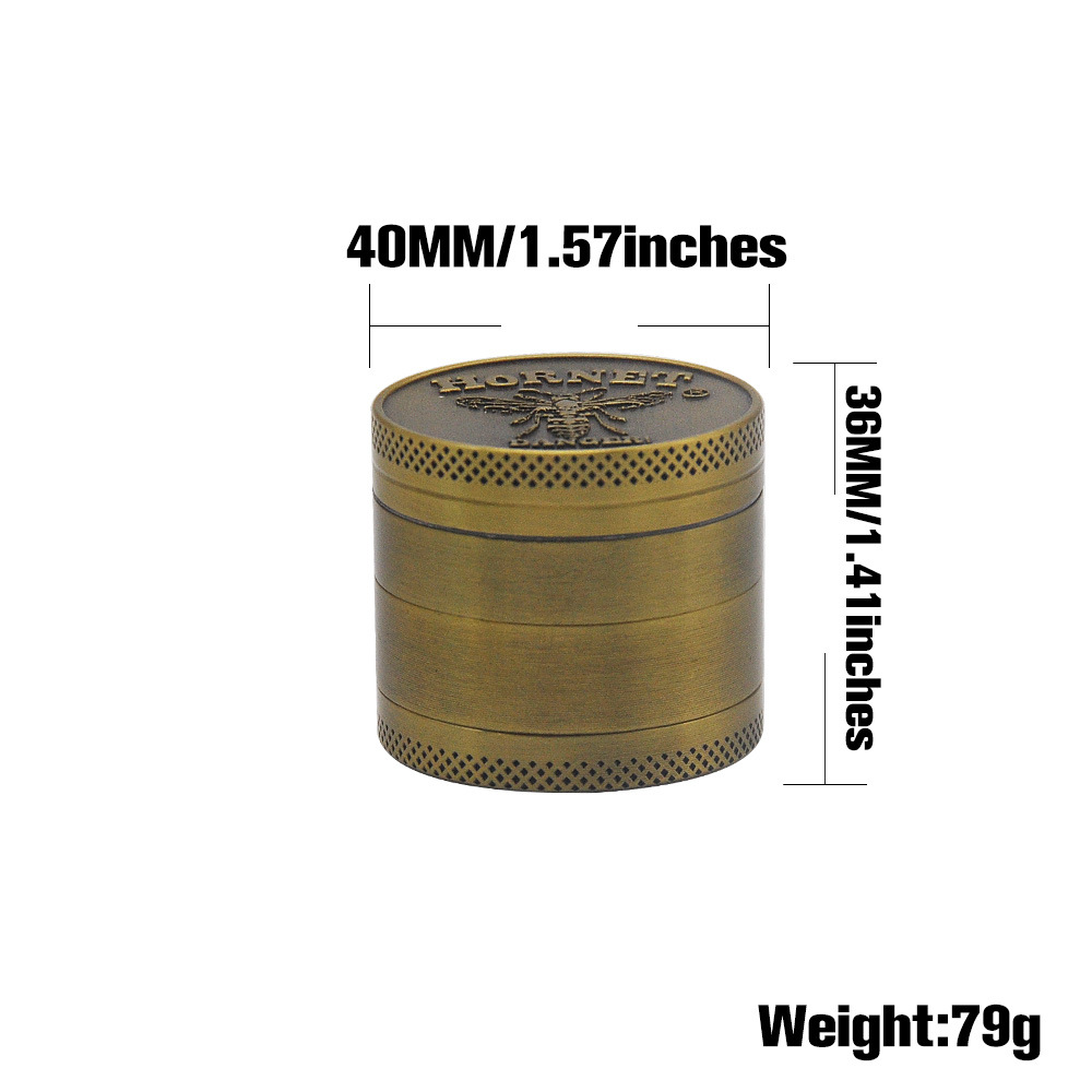 Bronze color Zinc Alloy Herb Grinder 40MM 4 layer Metal Mini Tobacco Grinders with Pollen Catcher Smoke Pipe Accessories 1