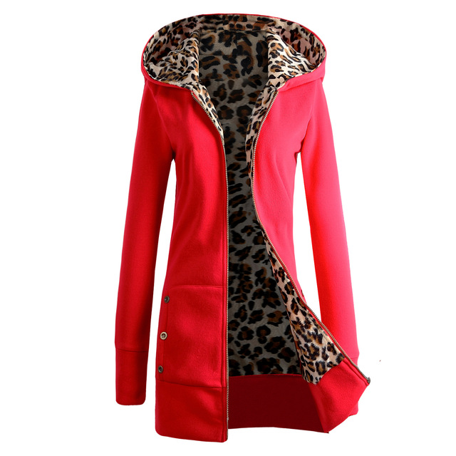 The latest fashion women's hooded thick leopard print sweater + jacket casual long-sleeved mid-length plus velvet winter hoodie 5