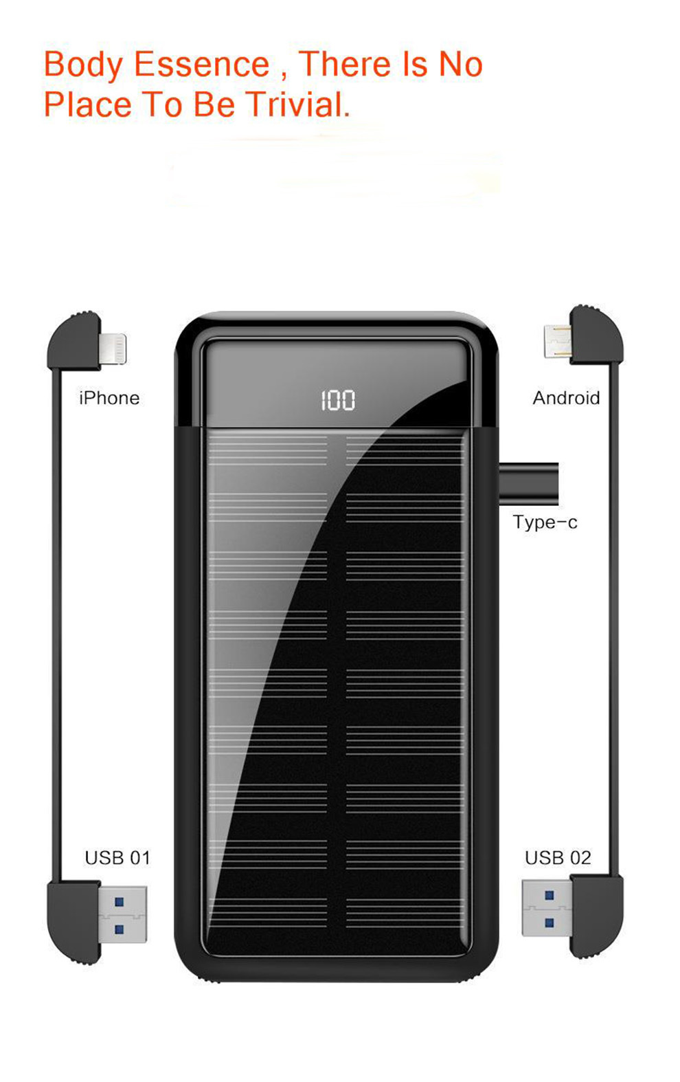 Vogek Portable Mini Solar Power Bank 10000mah 15