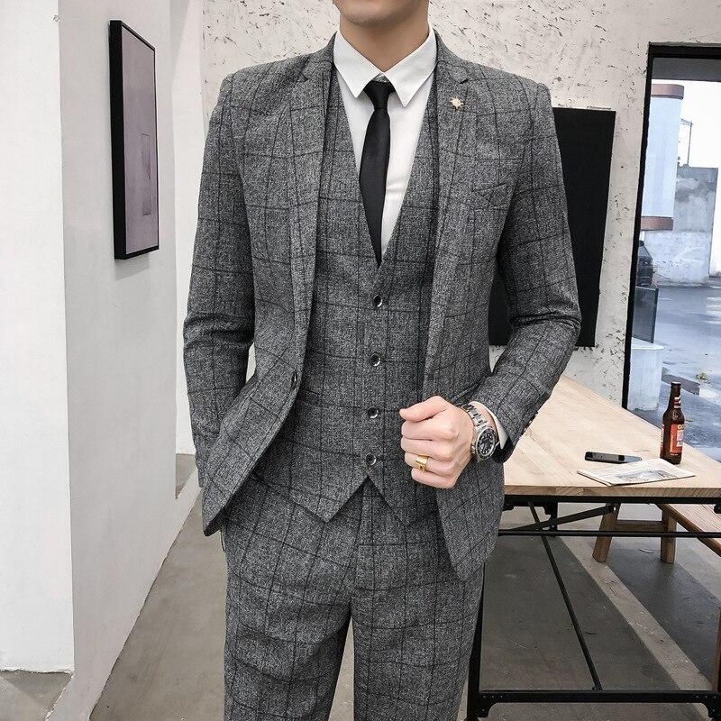Groom Marriage Suit Men Plaid Three-piece Set Small Suit MEN'S Suit Groomsmen Group Formal Dress Korean-style Slim Fit