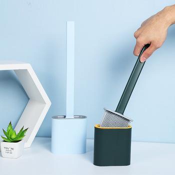Silikonowe Wc toaleta szczotka do montażu na ścianie z łbem płaskim elastyczny miękki szczotka z włosia z szybkie uchwyt do suszenia zestaw dla akcesoria łazienkowe tanie i dobre opinie CN (pochodzenie) Z żywicy Toilet Brush Ekologiczne dwuczęściowe