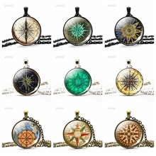 Hot Round Glass Cabochon Jewelry Steampunk Compass Pendant Vintage Compass Pendant Necklace Archaeology Tour Jewerly Gift round aluminum compass silver