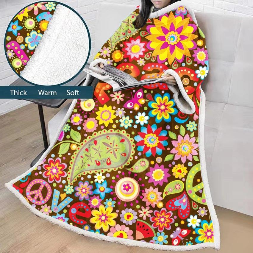 Géométrique doux paresseux couverture hiver portable fleurs épaisses canapé couverture imprimer pour adultes enfants pique-nique voyage avion avec manches