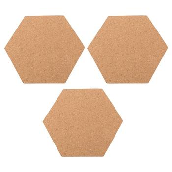 3pcs Hexagon Corkboard Message Board Creative Self Adhesive Photo Wall for Home Living Room Presentation Boards (20x17.5x0.6cm) 1