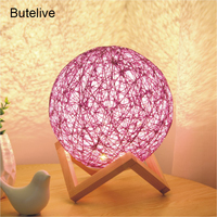 Table Lamps for Bedroom USB Bedside Lamp Colorful Night Light Ball Hemp Table Lamps for Living Room Kids Birthday Christmas Gift