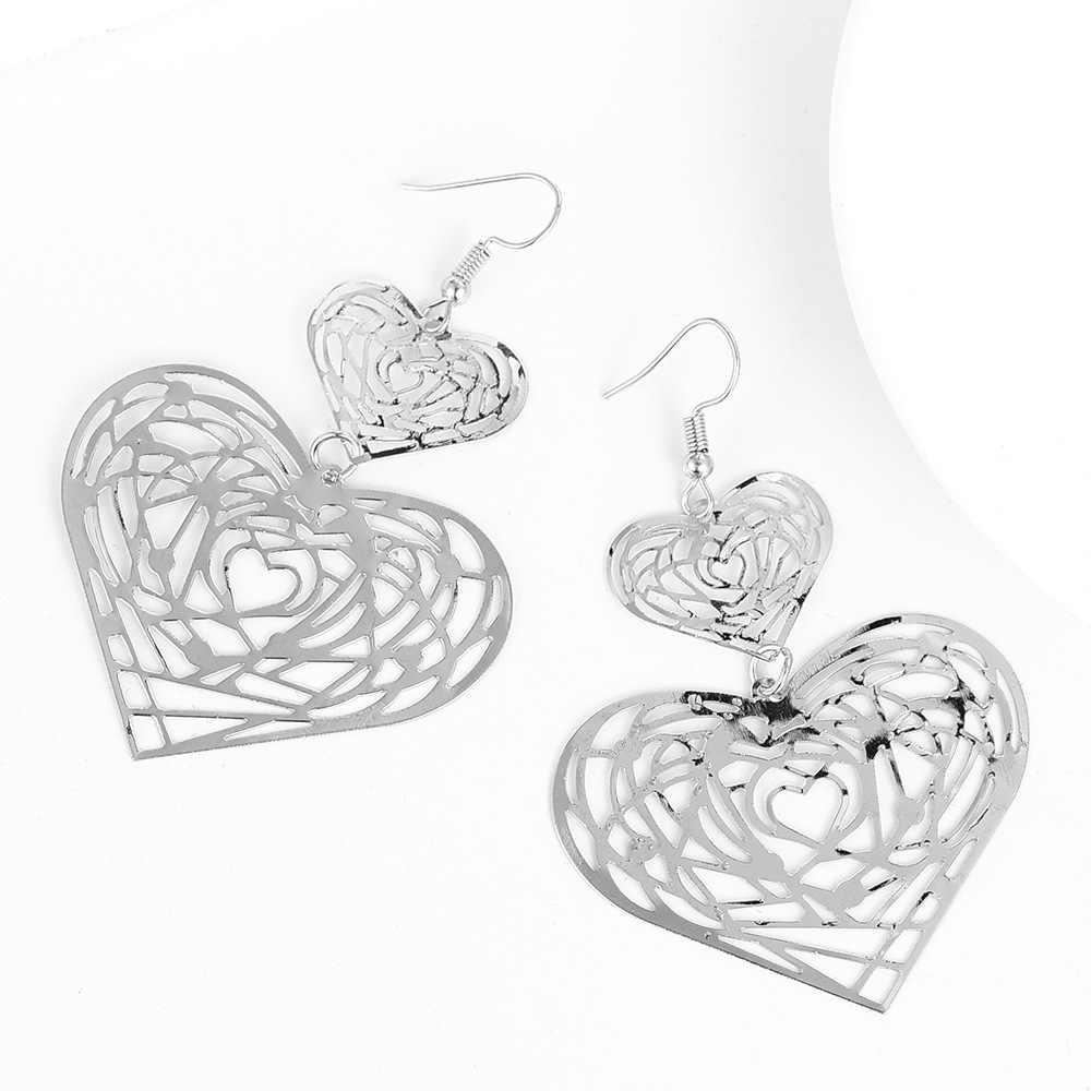 IMaySon moda wielowarstwowy stop metali drążą serce podwójne kolczyki dla kobiet dziewczyna dynda Ear Stud klip Drop Party biżuteria