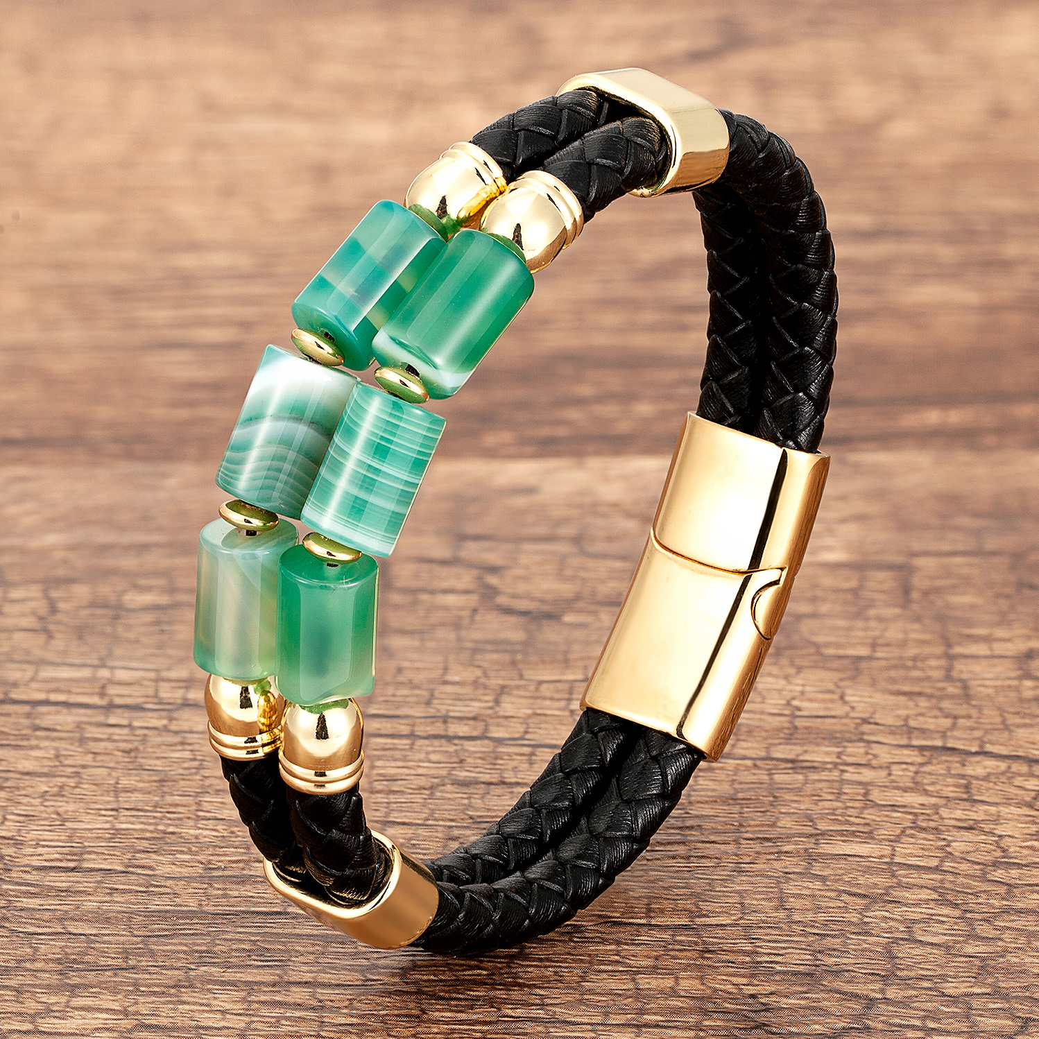 Luxury Double Row Stone Bracelets & Bangles Women Natural Beaded Bracelet Stainless Steel Clasp Multilayer Leather Men's Jewelry