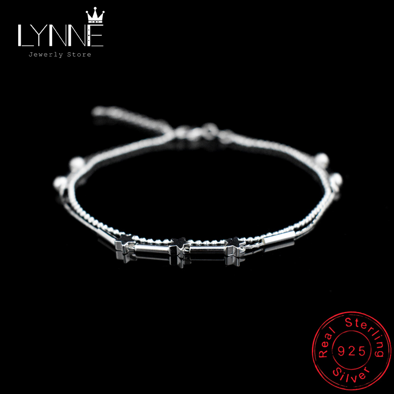 New Fashion Ladies Foot Anklet 925 Sterling Silver Anklets Bracelet Double Layer Chain For Women Star Pendants Foot Jewelry Gift