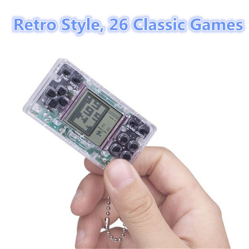 Mini Transparent Handheld Game For Tetris Racing Car Puzzle Game Kids Toy Handheld Games Bag Pendant Gift