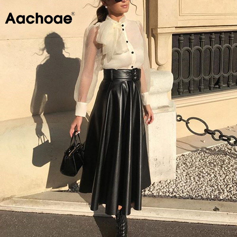 Aachoae Faux Leather Skirt Women Elegant Tie Belt High Waist Long Pleated Skirts Vintage A-line Midi Skirt 2020 Spring