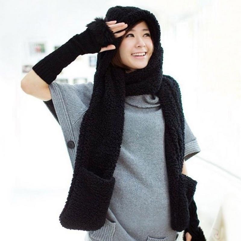 Clearance-sale Black 3 In 1 Women Winter Warm Soft Hooded Scarf Snood Pockets Gloves Scarfs Hat Best Sale