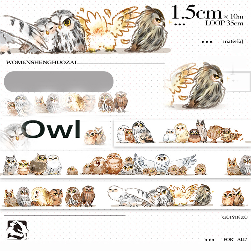 15mm*10m Kawaii Original Animal Lovely Owls Cute Birds Decorative Washi Tape DIY Planner Diary Scrapbooking Masking Tape Escolar
