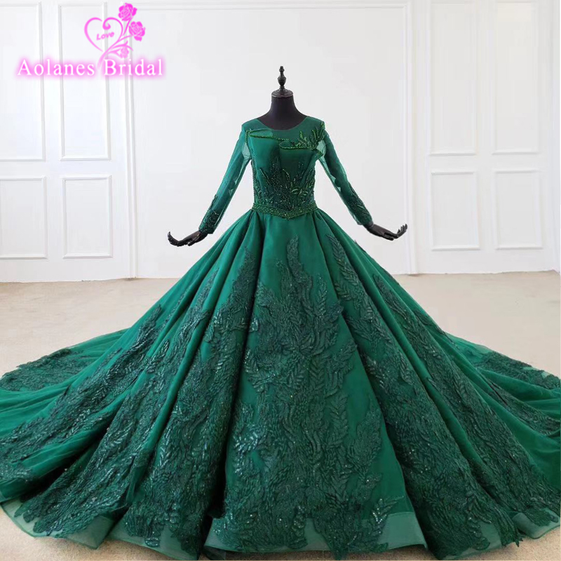 2020 New Green Satin Prom Dresses Prom Gown Scoop Ball Gown Sleeveless Evening Dress For Graduation Long Train Arabic Dresses