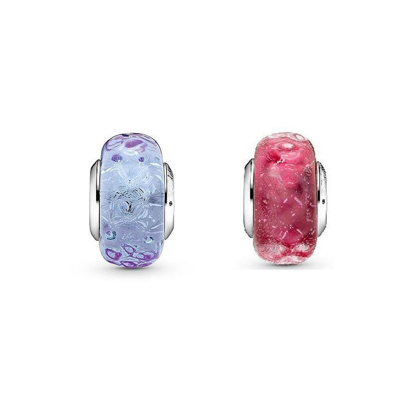 Настоящие подвески бусины 925 пробы Slver подходят для браслетов Pan оригинальные ограненные розовые фиолетовые подвески из муранского стекла ювелирные изделия 2020|Бусины| | АлиЭкспресс