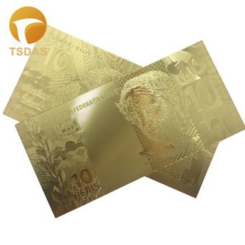 Brazylia 10 prawdziwe banknoty z czystego złota do kolekcji 10 sztuk partia banknoty waluta pieniądze papierowe do kolekcji i prezentów tanie i dobre opinie TSDAS Patriotyzmu Pozłacane Antique sztuczna fake banknotes souvenir banknotes 24k gold banknote gold foil banknote gold banknote set