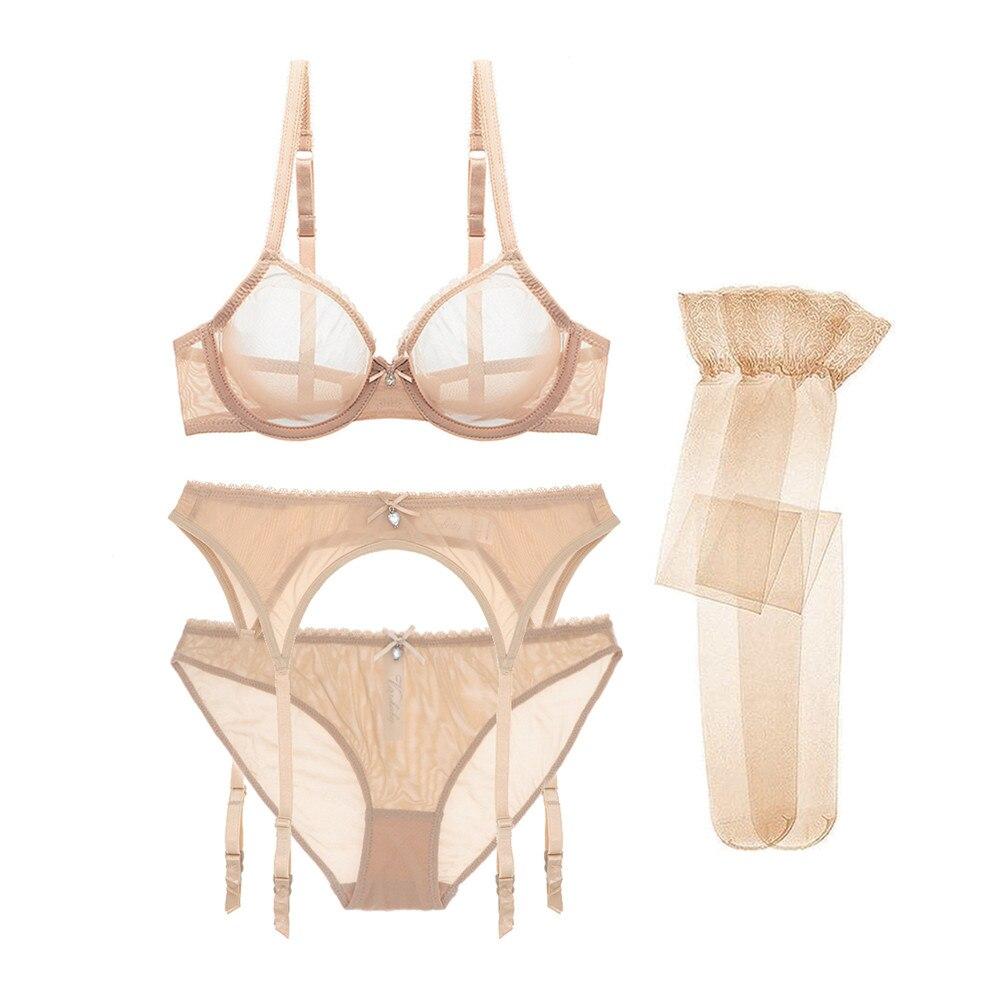 Varsbaby new sexy transparent   bras  +garters+panties+stockings 4 pcs underwear yarn 3/4 cup   bra     set   for women