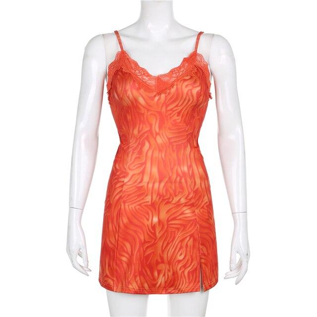 Sweetown Patchwork Lace Edge Cute Women's Dress Stripe Y2K Kawaii Clothes V Neck Sexy Mini Dress Sweety Girls' 90s Streetwear 5
