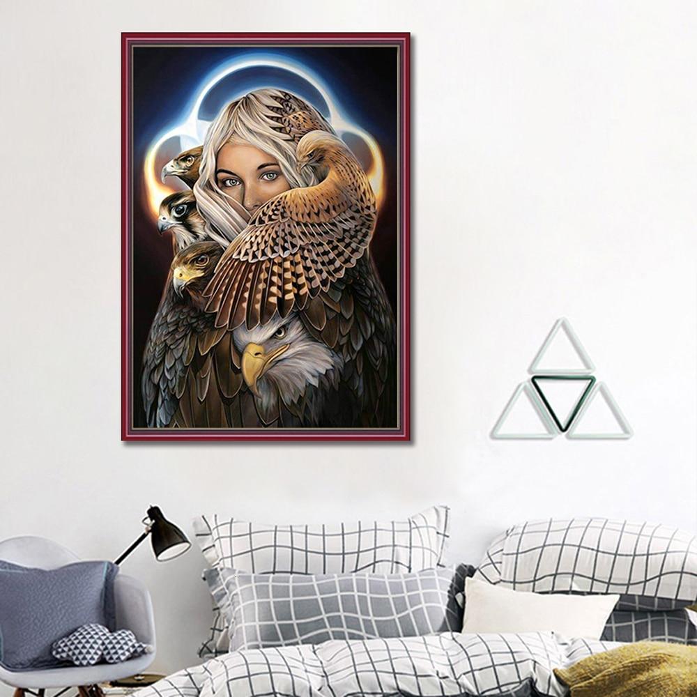 Pintura de diamante 5D con forma de águila cuadrada/redonda, Animal, cuadro de diamantes de imitación, cuadro de punto de cruz, costura de diamante