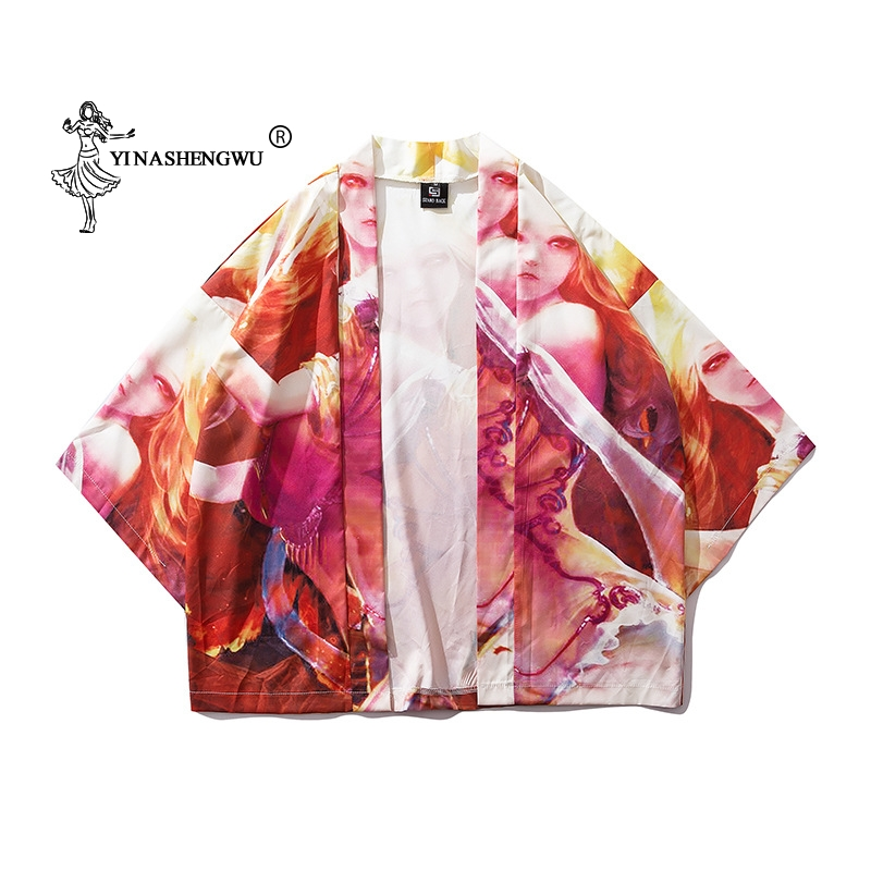 Cotton Kimono Japan Kimono Traditional Yukata Women Harajuku Carp Print Kimono Cardigan Femme Kimono Cosplay Costume Thin Shirt