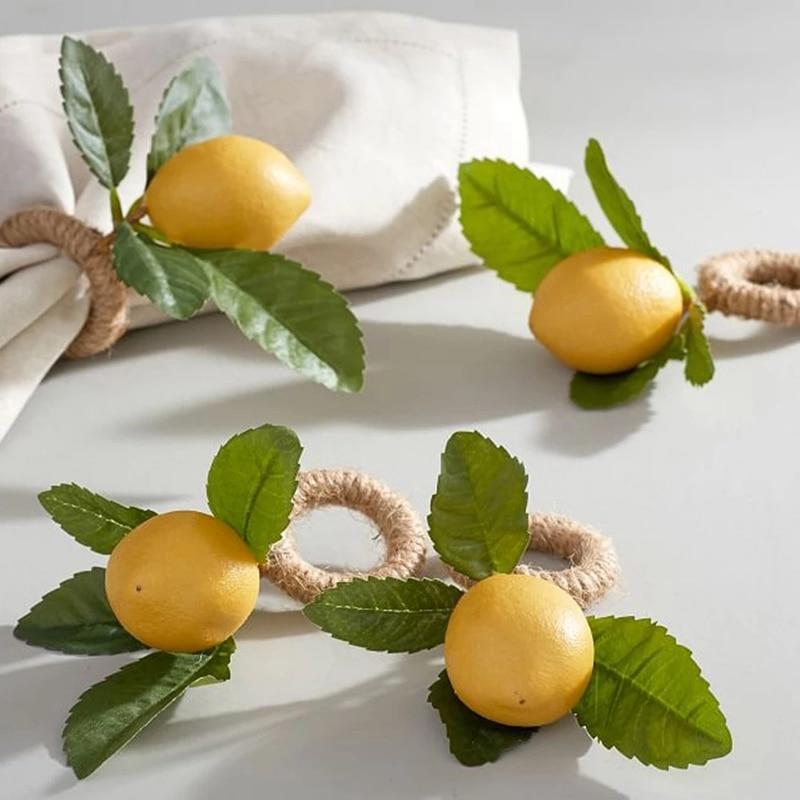 Simulação limão planta guardanapo anel frutas refeição fivela hotel modelo sala guardanapo anel festa suprimentos