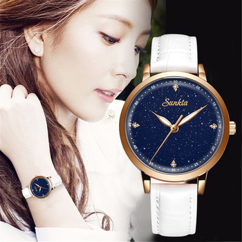 цена SUNKTA Leather Watch Women Simple Elegant Fashion Dress Ladies Watches Casual Quartz Watch Girls Gift Clock Relogio Feminino+Box онлайн в 2017 году