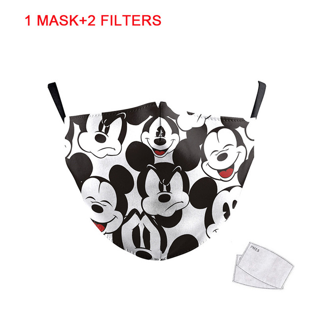 1pcs Cute Mouse Print Mask Kids Adult Washable Fabric Mask PM 2.5 Protective Reusable Dust Masks Cartoon Children Mouth-Muffle