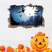 Halloween Wall Decor Waterproof 3D Breaking Sticker Decals Decorative Witch Bats Supplies Home Decoration