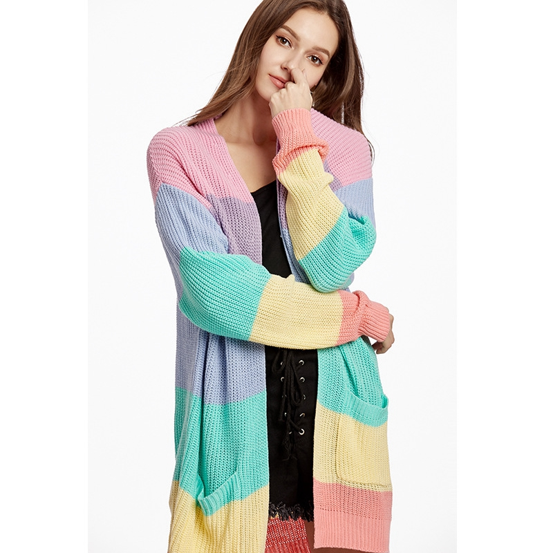 Office Lady Elegant Plus Size Loose Sweater Yellow Casual Coat Women Rainbow Striped Long Cardigan Winter Knitted Sweater Jacket