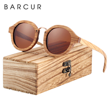 BARCUR Polarized Sunglasses Wood Round Sun glasses Male Shades Oculos de sol masculino