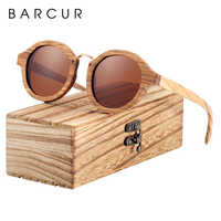 Gafas de sol polarizadas BARCUR gafas de sol redondas de madera para hombre