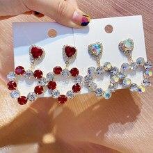 MENGJIQIAO coreano nuevo hueco lujo rojo transparente corazón Pendientes Mujer Moda Bijoux Brincos Pendientes de botón Pendientes joyería de fiesta