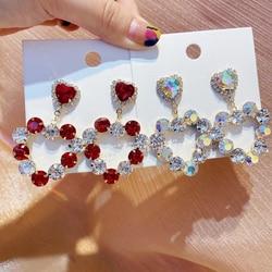MENGJIQIAO Korean New Luxury Hollow Crystal Red Heart Drop Earrings Mujer Moda Bijoux Brincos Pendientes Party Jewelry