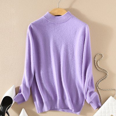 Women Cashmere 2021 New Autumn Winter Vintage Half Turtleneck Sweaters Plus Size Loose Wool Knitted Pullovers Female Knitwear11 16