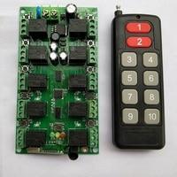 Dc12v 10a 10 ch rf sistema de controle remoto sem fio 10 canais receptor + transmissor código aprendizagem individual portas garagem/persianas rf door door shutterreceiver remote -