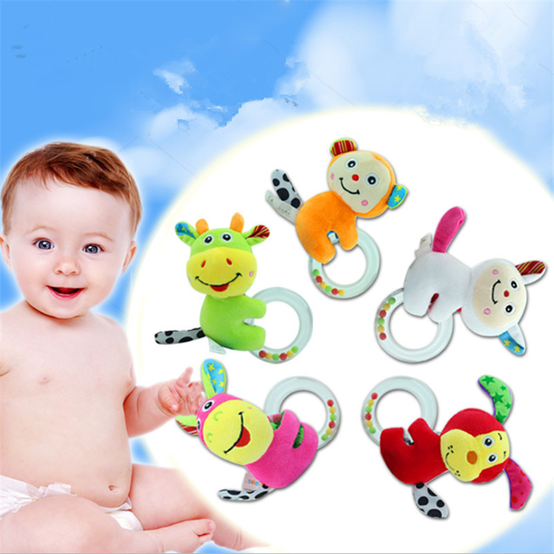 Sheep Dog Monkey Donkey Cattle Baby Rattle Toys Animal Hand Bells Plush Toy Baby Music Rattle For Kid Bed And Stroller