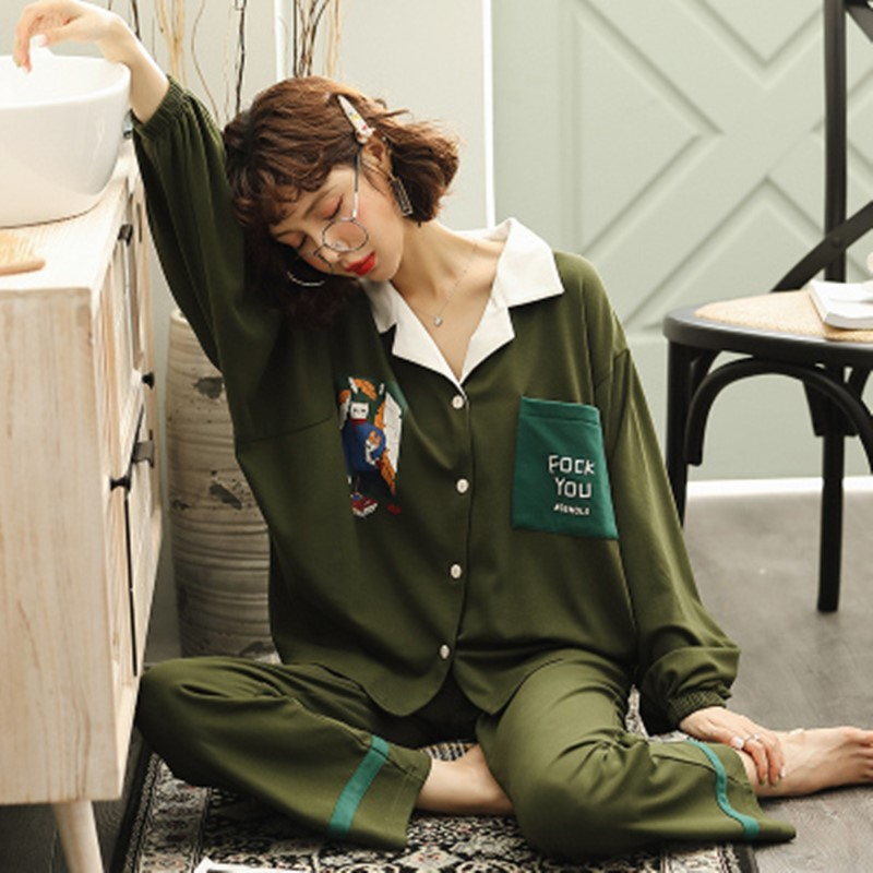 Elegant and thin women's large pajamas can be worn outside women's spring and autumn cotton long sleeve home clothes