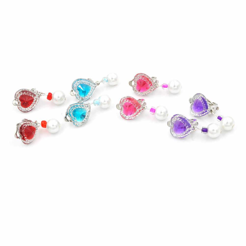 1 Pair Cute Crystal Jewelry Baby Girl Earrings Ear Clip no Piercing Earrings Imitation Pearl Earrings Kids Children Jewelry