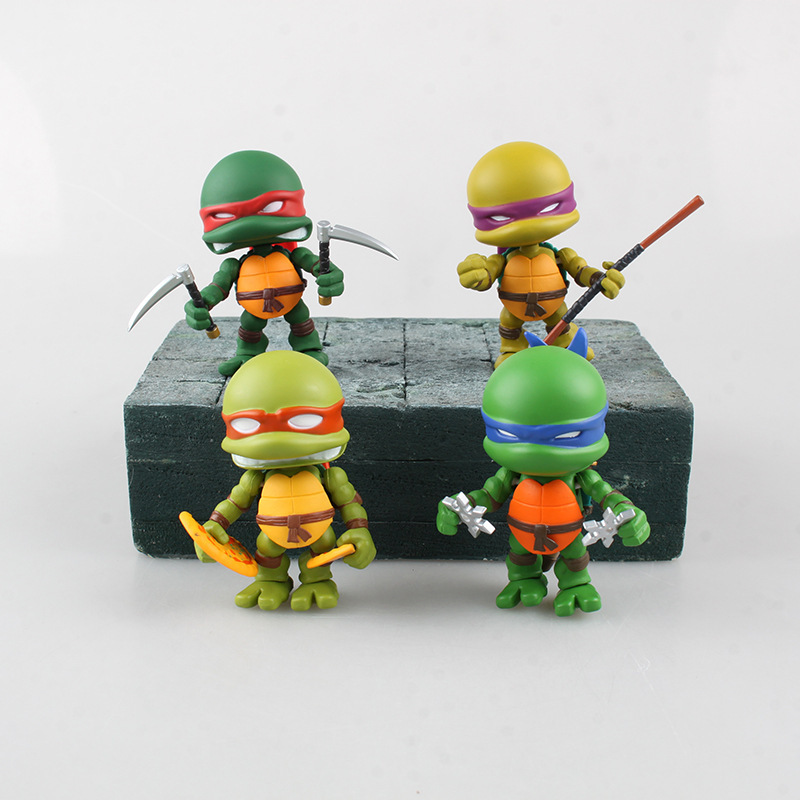 Anime Q version Leonardo Donatello Michelangelo Raphael PVC Action Figures Model Turtles Toys image