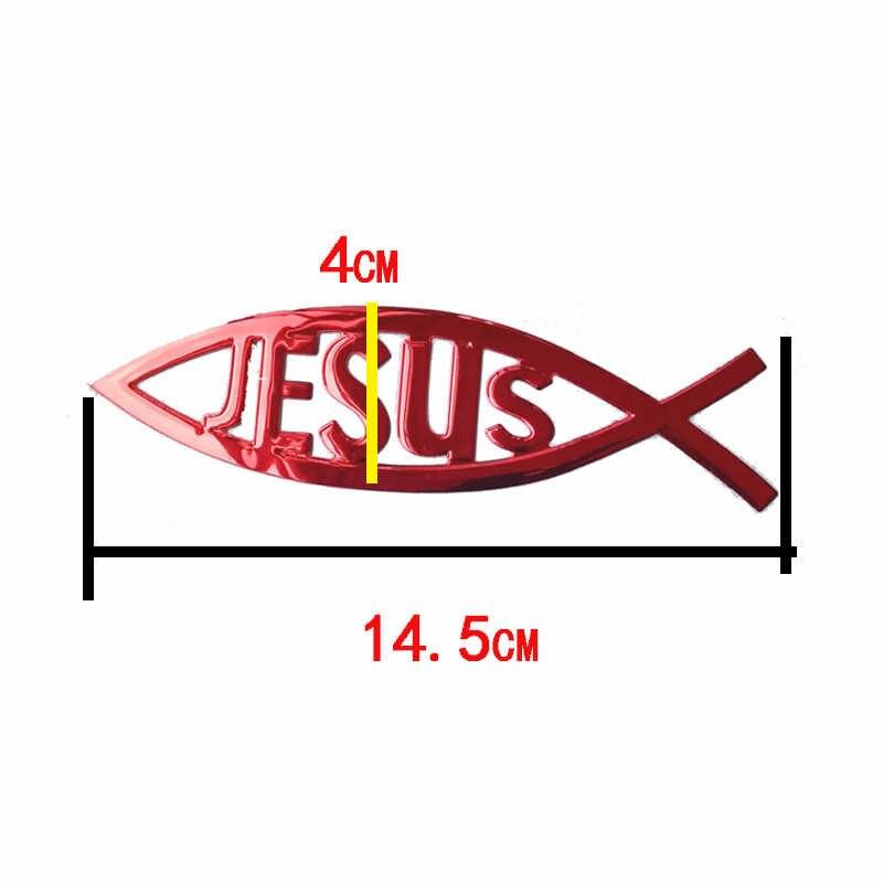Ikan Yesus 3D Mobil Stiker PVC Lembut Chrome Emblem Lencana Gaya Dekorasi Tahan Air Stiker Christian Stiker