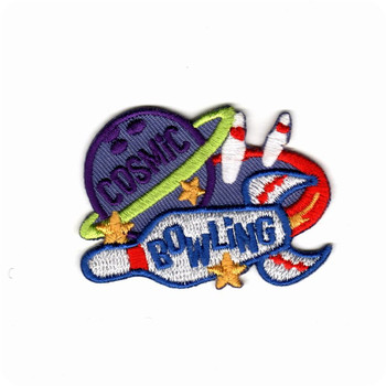 Custom embroidery patches bowling cosmic emblem small cute hot cut iron on patch for cloth jacket hat shoes embroidered patches image