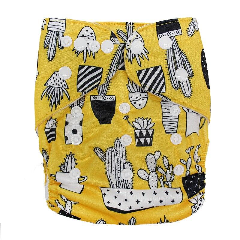 Детские моющиеся многоразовые подгузники из настоящей ткани с карманом, подгузники, чехлы для подгузников, костюмы для новорожденных и горшков, один размер, подгузники с героями мультфильмов - Цвет: Yellow Cactus