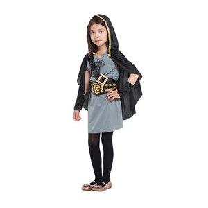 Image 3 - Детский костюм охотницы с капюшоном для девочек, средневековый Карнавальный костюм Рыцарь воин, вечерние костюмы для Хэллоуина