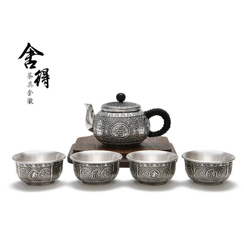 Sterling Silver 999 Complete Set Of Tea Set Willing To Set Cups 4 Pieces Kung Fu Tea Set For Home Office
