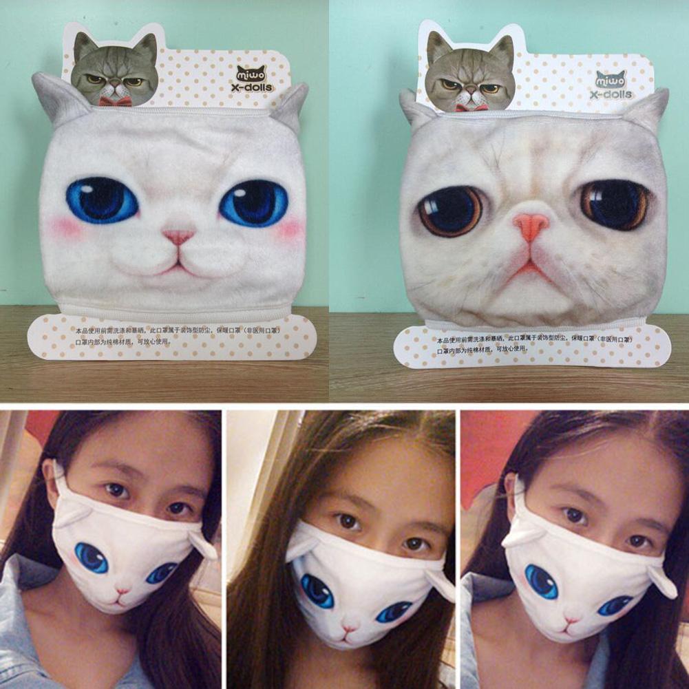 Cartoon Cats Print Cotton Face Mask Mouth Masks Dust-proof Breathable Anti Haze Protective Masks Mouth Face Mask Random Color