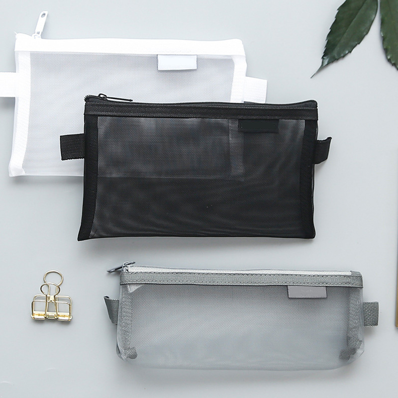 1 Pcs Simple Transparent Mesh Pencil Case Storage Organizer Pen Bags Pouch Pencil Bag Pencilcase School Supply Kawaii Stationery