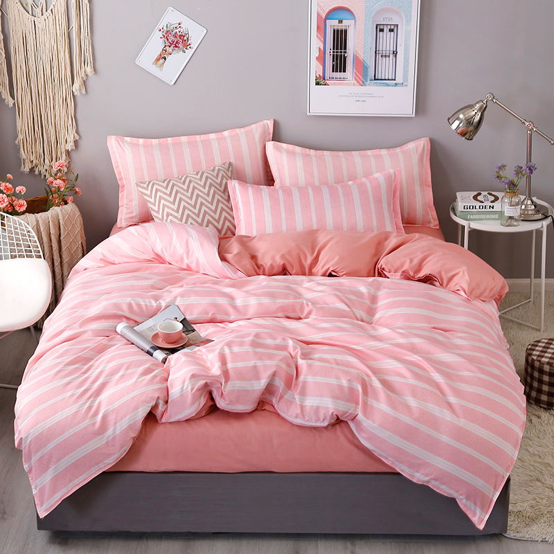 4Pcs Set Bedding Set Household Products Bed Set 20 Style Aloe Cotton Cute Plaid Stripe Bed Sheet Pillowcase Duvet Cover in Bedding Sets from Home Garden