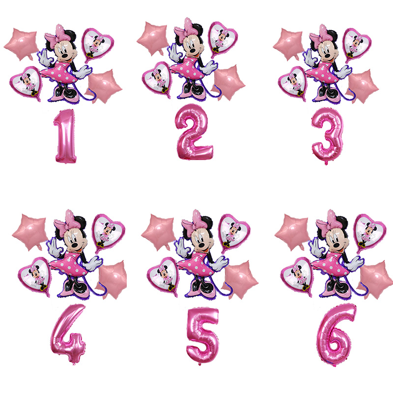 Воздушные шары из фольги Микки и Минни Маус, мультяшное украшение для вечеринки в честь Дня рождения ребенка, набор воздушных шаров с цифрам...